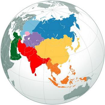 אסיה על מפת כדור הארץ