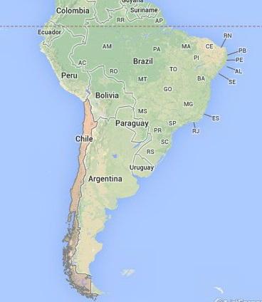 מפת דרום אמריקה