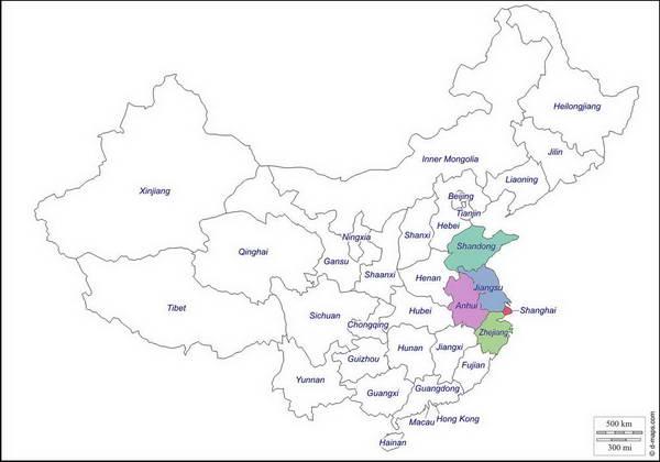 מפת מזרח סין
