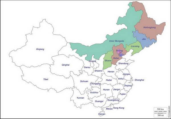 מפת צפון סין