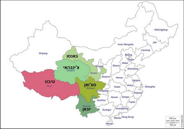 בק-דור טיבט, מחוזות סין הטיבטית
