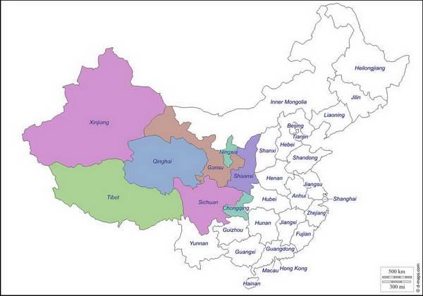 מפת מערב  סין