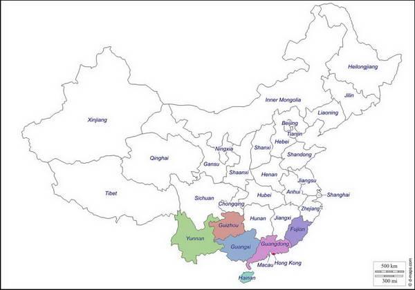 מפת דרום סין