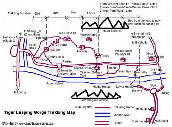 מפת הטרק בערוץ דילוג הנמר, יונאן, סין
