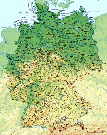 מפה טופוגרפית של גרמניה
