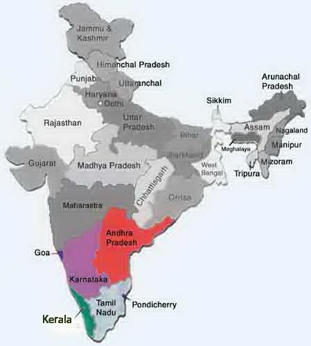 מפת דרום הודו