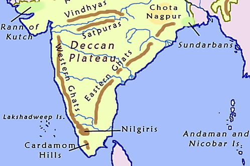 מפת דרום הודו בה נראים הרי הגהט המערביים והמזרחיים ובניהם רמת הדקאן