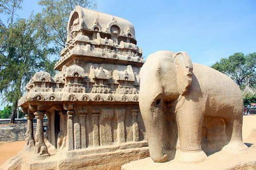 אחת מחמשת הכרכרות ופיל בגודל טבעי