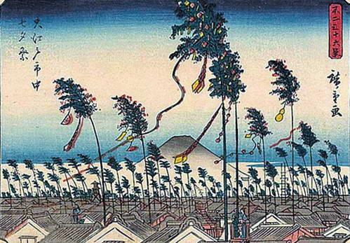 הדפס עץ של אדו (טוקיו) בחג הטנבאטה 1852