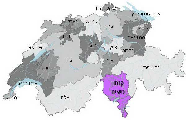 קנטון טיצ'ינו על מפת שוויץ