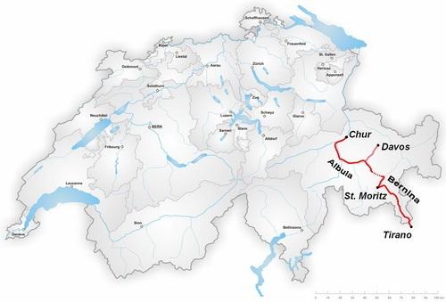 מסלול רכבת ברנינה אקספרס, שוויץ
