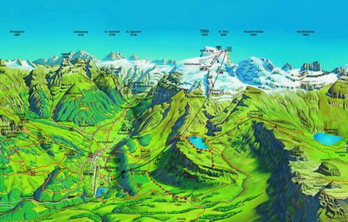 הר טיטליס, שוויץ, מפת מסלולי הליכה בקיץ